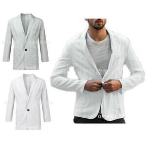 Mens Suit Jacket Collar Cotton Linen Outdoor Comfort Summer Wide Thin Jacket New