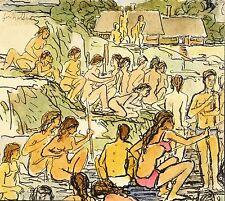 GERHARD KETTNER - Freibad - Tusche & Aquarell 1980