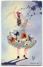 Carte postale brodée  .Costume et folklore . ANDALUCIA . ANDALOUSIE