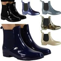 Womens Winter Rain Flat Chelsea Ankle Wellies Wellington Boots Shoes Hot Sale Sz