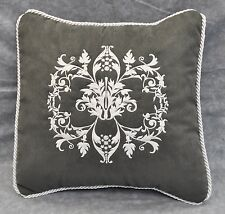 """Embroidered White Floral Pillow made w/ Gray Faux Suede Fabric 12"""" trim cording"""