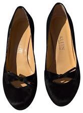 Anne Klein Designer Italy  Black Hair Calf Fur & Patent Leather Heels Pumps 8 M