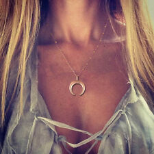 Fashion Horn Necklace Crescent Moon Pendant Gold Chain Bead Choker Charm Jewelry