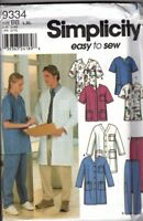 Simplicity Unisex Adult Teen Scrubs Pants Top Jacket  L - Xl,  Uncut Patterns