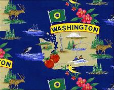 Evergreen State Washington Map Tourism Fleece Fabric Print by the Yard A240.05