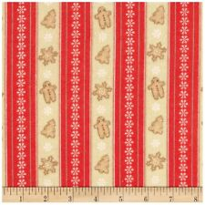 Cocoa and Cookies Flannel Christmas Red Cookie Striped Fabric By The Yard