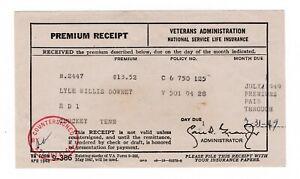 Premium Receipt Veterans Administration National Service Life Insurance 1949