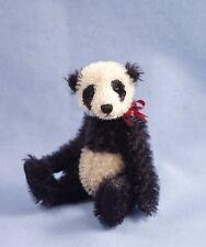 "Deb Canham "" Old China""Black/Ivory Mohair Panda-Aged-Jointed -Red Ribbon-"