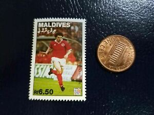 Stephane Chapuasti Soccer Player RF 6.50 Maldives Perforated Stamp Olympics WOW