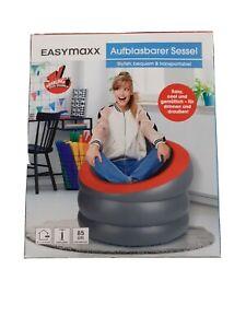 * EASYmaxx Aufblasbarer Sessel Luftsessel In-/Outdoor geeignet Grau/Rot °85cm