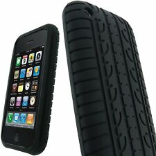 BLACK TYRE TREAD SILICONE GEL CASE COVER FOR APPLE IPHONE 3G / 3GS