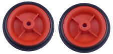 2 X 80mm rojo ruedas de plástico con neumáticos de plástico
