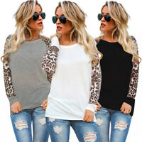 Womens Tee Blouse Ladies Long Sleeve Leopard Shirt Patchwork Basic Casual Tops