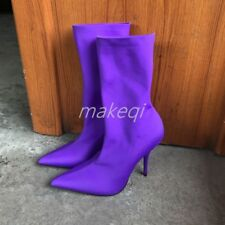 Sexy Womens Ankle Boots Strench Pull On Shoes High Heel Stiletto Pure Color New