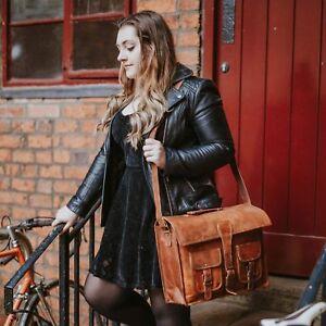 NEW Real Handmade Leather Shoulder messenger laptop satchel bag for men & women
