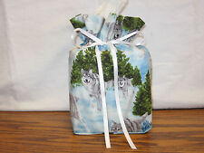 Lots of Gray Wolves running cotton Fabric Handmade square Tissue Box Cover Only