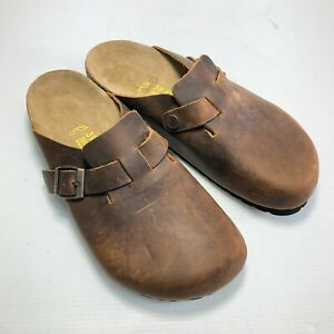 Birkenstock Brown Smooth Leather Closed Toe Buckle Slide Casual Mules M8 W6.5