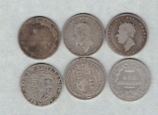 More details for six old silver shillings 1825 to 1899 in a well used condition