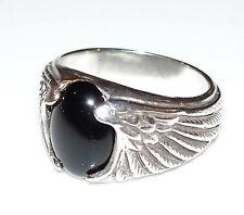 Eagle Wing Ring 925 Sterling Silver Sz 13 w/ Natural Black Onyx gem Wide ring