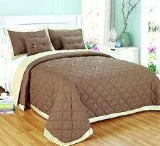 5 Piece Bedding Set Quilted Reversible Bed Throw Bedspread Comforter Coverlet