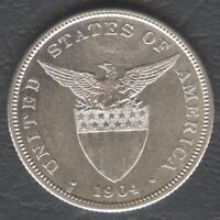 1904-S US Administration Philippines 50 CENTAVOS Silver Coin AU DETAILS  #B2