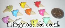 10 COLOURFUL 21mm ICE CREAM THEMED CRAFT BUTTONS - CRAFTS/SEWING