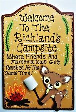 WELCOME Personalized DEER CAMPSITE Name SIGN Camper Camp Cabin Camping Plaque