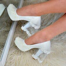 Wedding Bridal High Heels Shoes LACE PEARLS Embellished Block heel Ivory VEIL