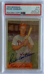 1954 Bowman Richie Ashburn #15 Dual PSA Graded  3/10 autographed card