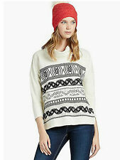 NEW LUCKY BRAND WOMENS EMBROIDERED STRIPE COWL PULLOVER COTTON TOP SWEATER SZ S