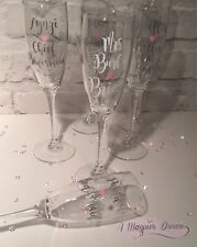 Personalised Bridesmaid Champagne Glasses Bridal Party. Hen Party