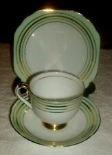 STANLEY FINE BONE CHINA TEA TRIO - GREEN WITH GILT RINGS -  1953 - 1962