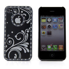 Apple iPhone 4 4S 4G Black Chrome Design Rhinestone Bling Hard Case Cover Skin