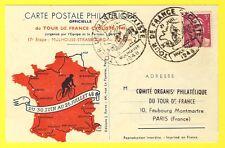 cpa Sport TOUR de FRANCE 1948 CYCLISME 17e Etape MULHOUSE STRASBOURG PHILATÉLIE