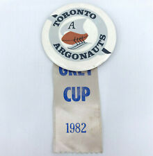 CFL Football PinBack Button Toronto Argonauts Argos 1982 Grey Cup Ribbon Vtg