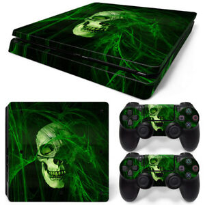 For PS4 Slim Console & 2 Controllers Green Skull Decal Vinyl Skin Wrap