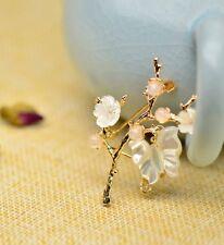 HAND MADE Women Brooch Scarf Pin Sakura Flower Agate 18K gold plated FREE GIFT