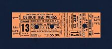 Red Wings vs Rangers 1965 unused hockey ticket- Paul Henderson 2-goals