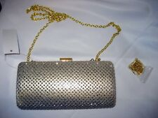 Gold Hard Case Evening Clutch, sparkles like diamonds, Snap clasp, satin lined