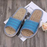 Unisex Linen Flax Plaid House Flat Slipper Indoor Home Cozy Open Toe Scuffs