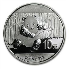 1 oncia oz 999 Argento Moneta Silver Cina Panda 2014 10 Yuan in Capsula ALTO