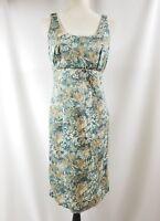 e2d850b4fda3d Peruvian Connection Blue Tan Pima Cotton Floral Sleeveless Sheath Dress  Size 8