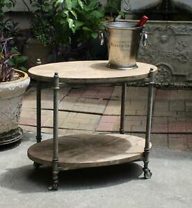 Rolling Bar Cart in Country Wood and Iron Shabby Chic