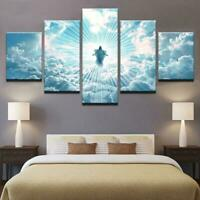 Great Christ Jesus Painting Halo Shining God Wall Art Home Decor 5p Canvas Print