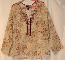 Venezia Poly Chiffon Beige/Burgundy Flower Peasant/Tunic Top-Beads/Embroidery-18