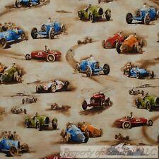 BonEful FABRIC Cotton Quilt Brown Blue Red Dirt Mud Road Drag Race Car Boy SCRAP