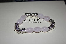 GENUINE LINKS OF LONDON STERLING SILVER ROSE QUARTZ SWEETIE BRACELET - MEDIUM