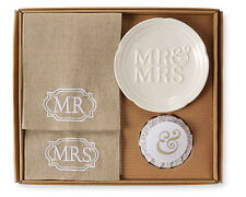 Mr & Mrs Towel Set w/ Lavender Soap and Dish Wedding Gift from Mud Pie