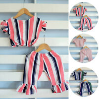 2pcs Toddler Baby Girls Clothes Romper T-shirt Top+ Pants Kids Outfit Set 0-5Yrs