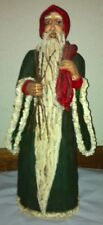 """Unique 16"""" Tall Resin Stone Old World St. Nick with Bag of Toys"""